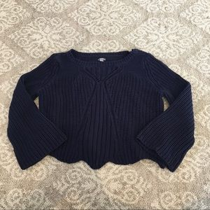 Aerie navy blue bell sleeve knit sweater